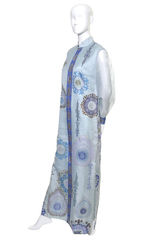 Hand Painted Alfred Shaheen Vintage Caftan Maxi Dress