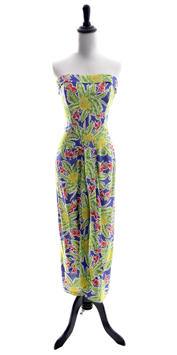1940s Alfred Shaheen Vintage Dress Strapless Tropical Honolulu - Dressing Vintage