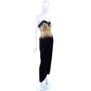 Strapless Ann Lawrence 1980s Vintage Gold Silver Black Beaded Dress