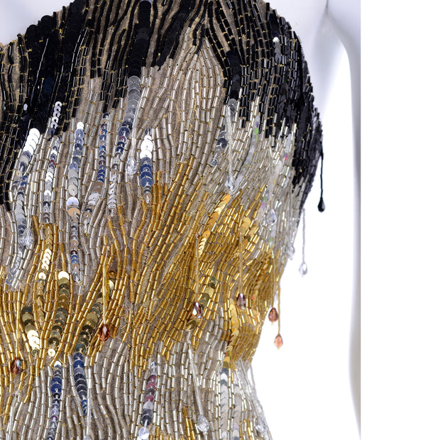 80s Ann Lawrence 1980s Vintage Gold Silver Black Beaded Dress