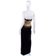 Ann Lawrence 1980s Vintage Gold Silver Black Beaded Evening Gown