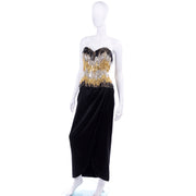 Ann Lawrence 1980s Vintage Gold Silver Black Beaded evening Dress