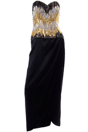 Ann Lawrence 1980s Vintage Gold Silver Black Beaded Dress