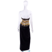 Ann Lawrence Vintage Gold Silver Black Beaded Dress