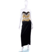 Ann Lawrence 1980s Vintage Gold Silver Black Strapless Beaded Dress