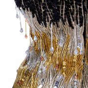 Crystal Drop Ann Lawrence 1980s Vintage Gold Silver Black Beaded Dress