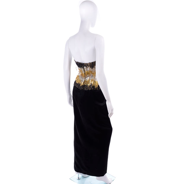 Ann Lawrence 1980s Vintage Gold Silver Black Beaded Dress Crystal Drops