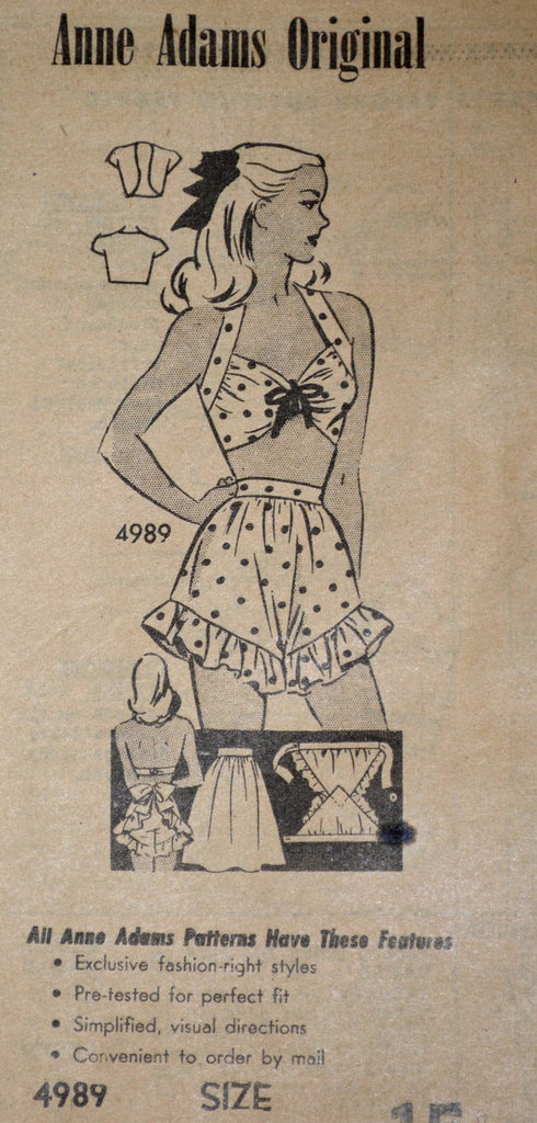 1940s playsuit pattern vintage Anne Adams 4989