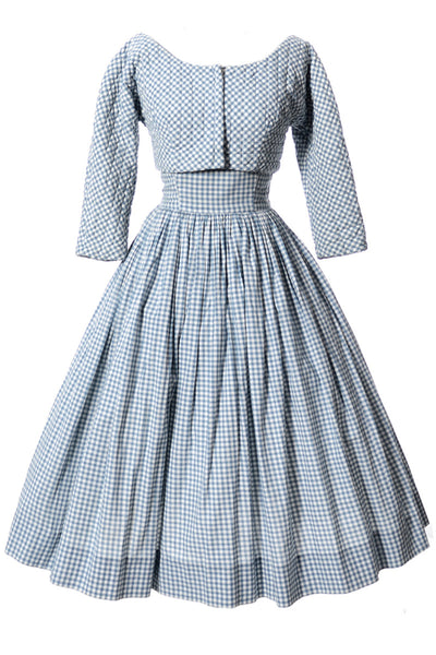 Anne Fogarty Blue Gingham Strapless Dress and Bolero Jacket - Dressing Vintage
