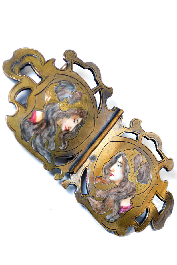 Antique Porcelain Brass Enamel Figural Ladies Sash Belt Buckle with Faces - Dressing Vintage