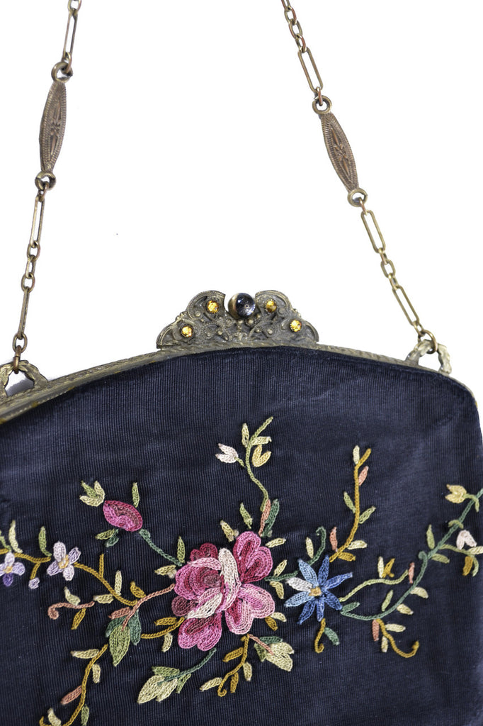 Antique Embroidered Crewel Victorian Hinged Handbag - Dressing Vintage