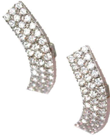 Vintage Rhinestone Arched Black Tie or Bridal Shoe Clips - Dressing Vintage