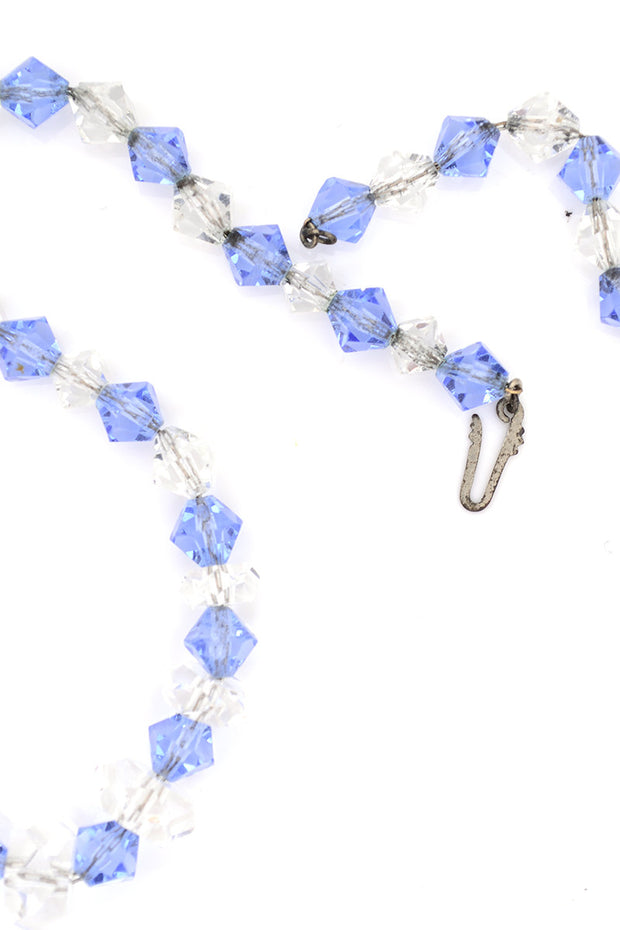 Art Deco Vintage Blue Clear Crystal Necklace