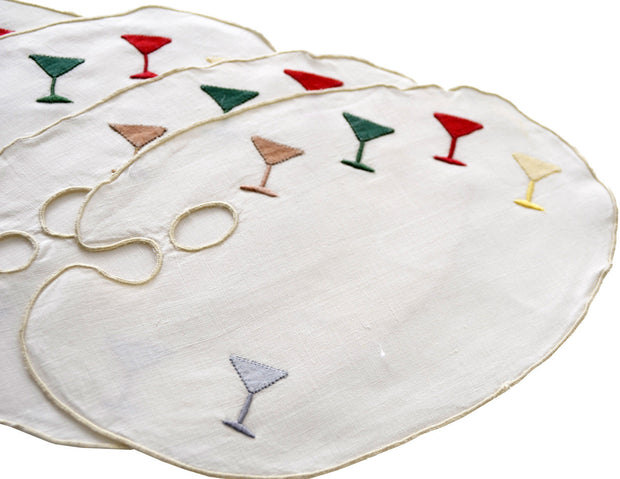 8 Vintage Artist Palette Linen Martini Cocktail Napkins or Coasters - Dressing Vintage