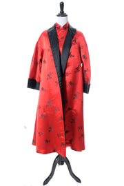 1950s Chinese Inspired Red and Black Satin Vintage Dress and Reversible Coat - Dressing Vintage