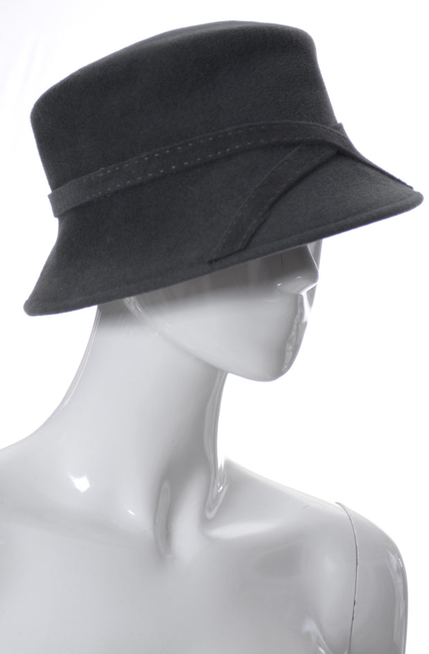 B Michael New York Vintage Gray Felted Wool Hat - Dressing Vintage