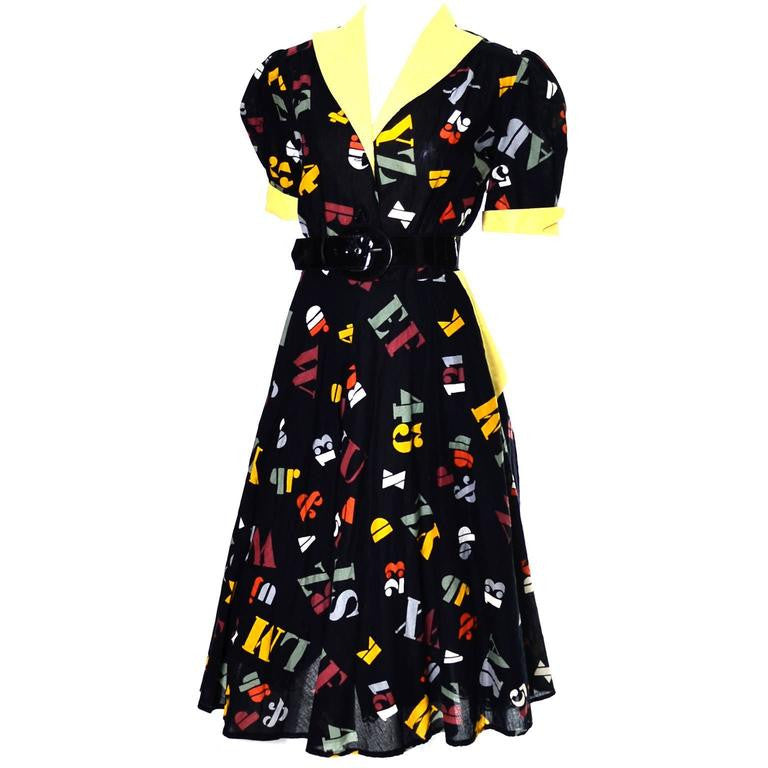 Black and Yellow Vintage Novelty Print Dress with Numbers and Letters