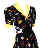 1950's Novelty Print Vintage Dress with Alphabet