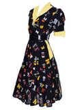 Alphabet novelty print vintage 1950's dress