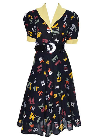 1950's novelty print letter and number vintage dress