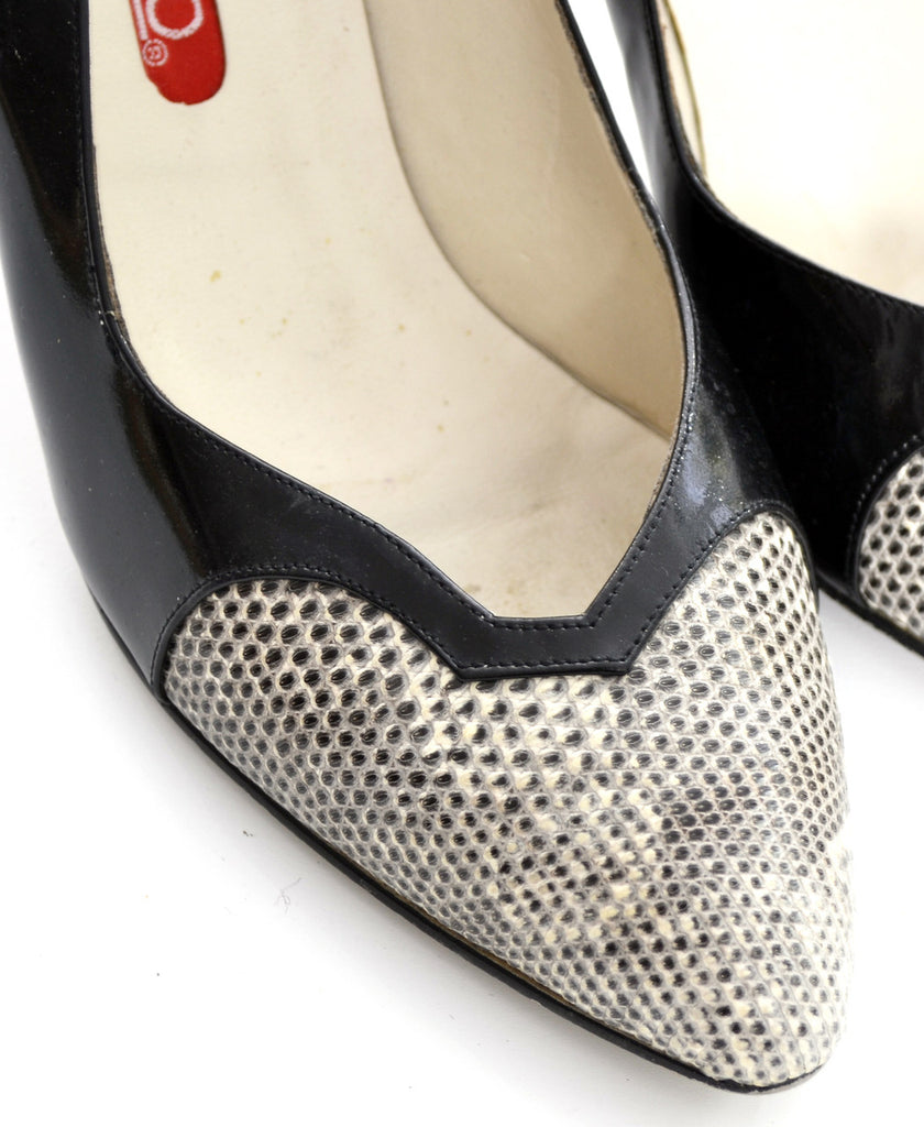 Bandolino vintage black patent leather snakeskin shoes