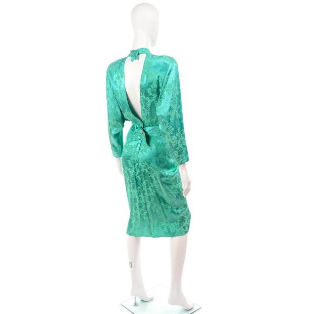 1980's Green Damask Floral Dress w/ Open Back & High Neck 4/6