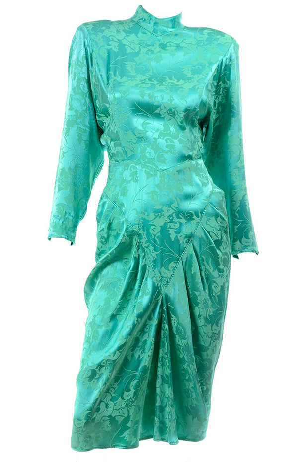 1980s Green Damask Silk Dress