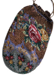 Antique Floral Beaded Drawstring Handbag Purse - Dressing Vintage