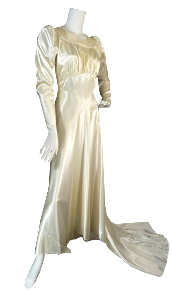 Vintage satin 1940s wedding gown dress with lace and train for Slipper satin wedding dress