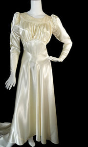 Vintage Wedding Dress 1940s candlelight satin - Dressing Vintage