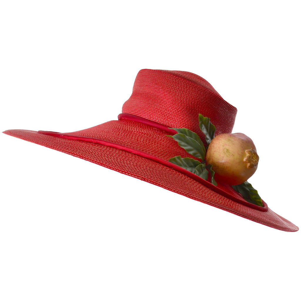 Bes-Ben Vintage Wide Brim Pomegranate Floppy Hat - Dressing Vintage