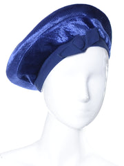 1960's Betmar Blue Vintage Beret Hat with Bow - Dressing Vintage