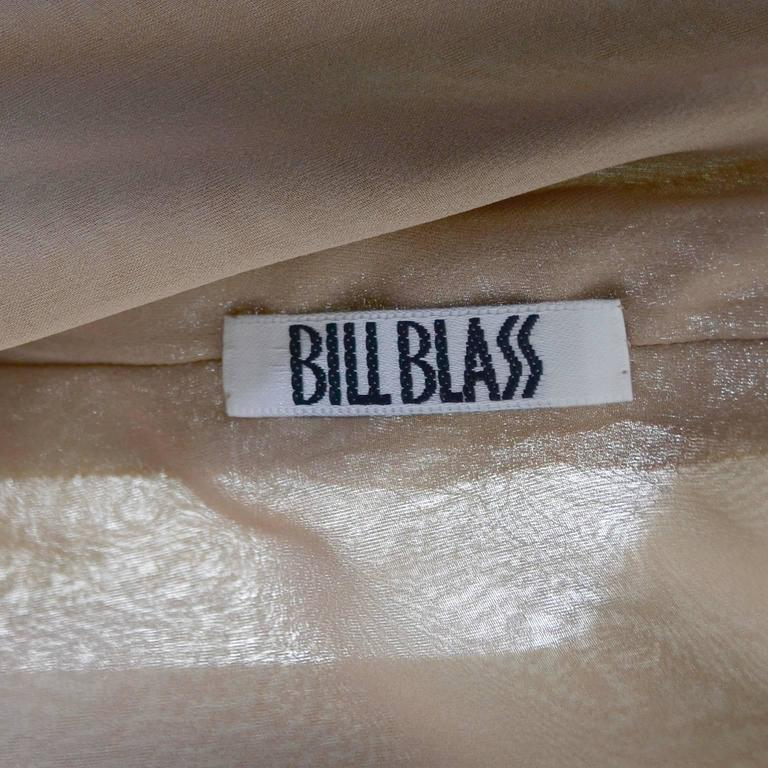 1980's Bill Blass Vintage Silk Chiffon Evening Gown Ruffles 10/12