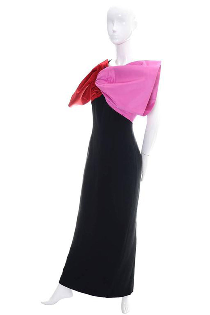 Bill Blass Vintage Evening Gown w/ Red & Pink XL Bow from Dressing Vintage