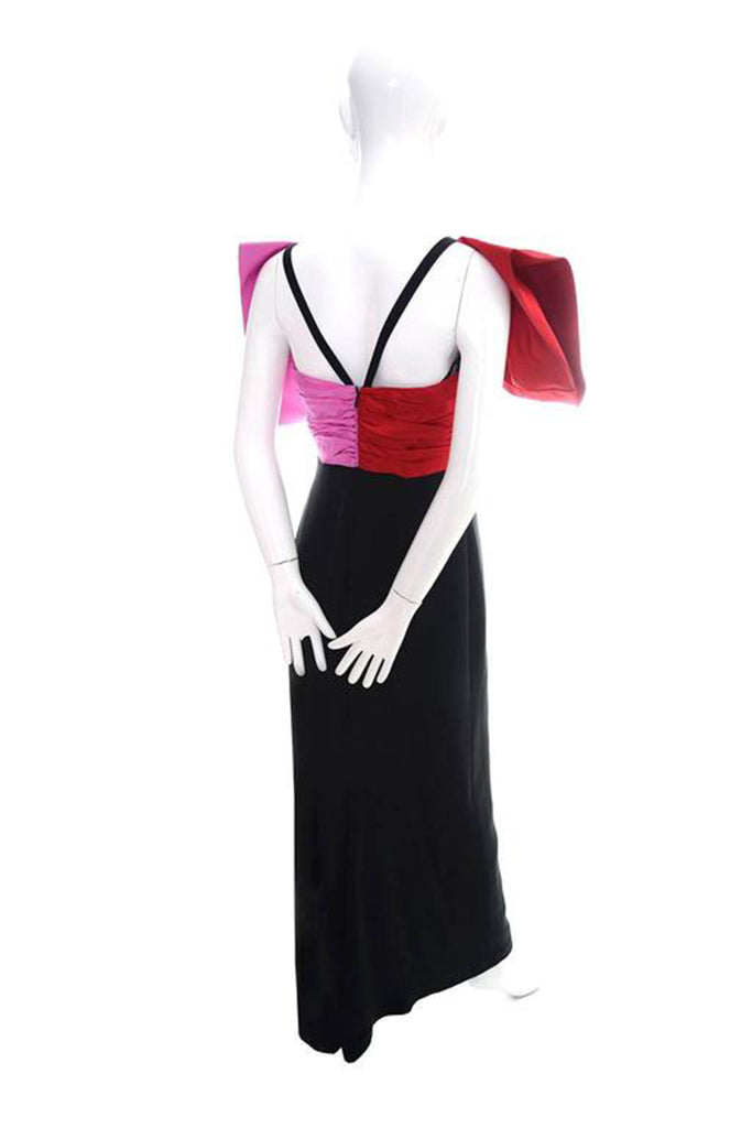 1980's Bill Blass Vintage Evening Dress w/ Red & Pink Bow from Dressing Vintage