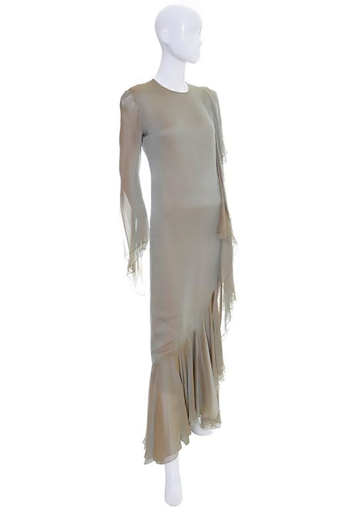 1980's Bill Blass Vintage Silk Ruffle Dress | Dressing Vintage