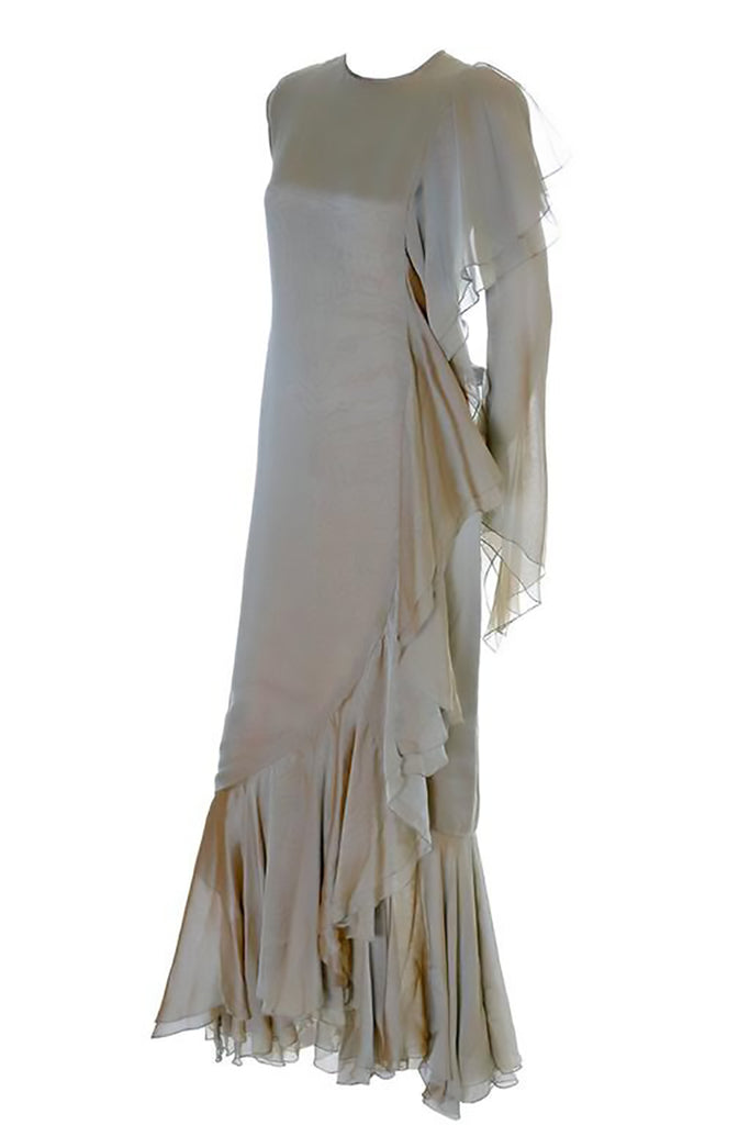 1980's Bill Blass Vintage Silk Chiffon Evening Gown Ruffles 10/12 - Dressing Vintage
