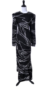Bill Blass 1980s Full Length Vintage Dress with Abstract Print - Dressing Vintage