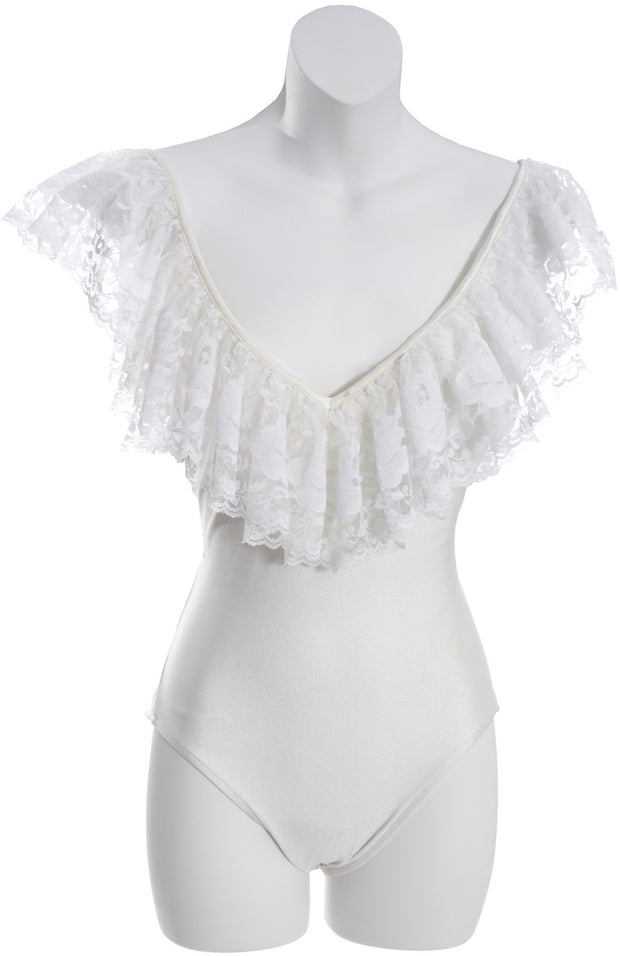 794bc016144 1980s Bill Blass Vintage One Piece Swimsuit with White Lace Skirt Small -  Dressing Vintage