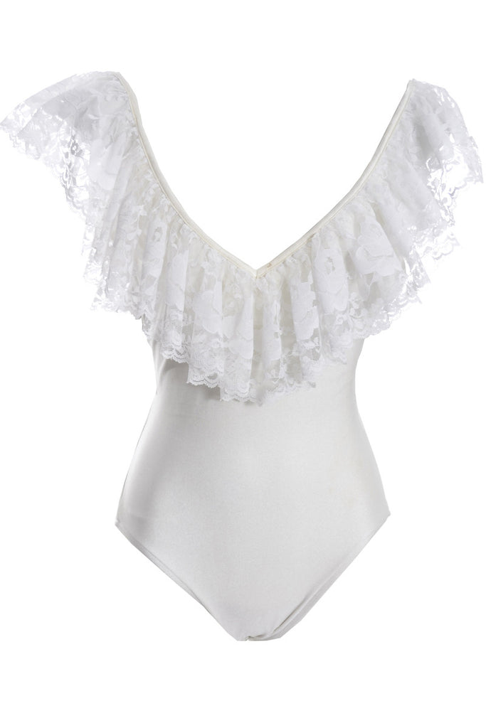 1980s Bill Blass Vintage Swimsuit with White Lace Skirt