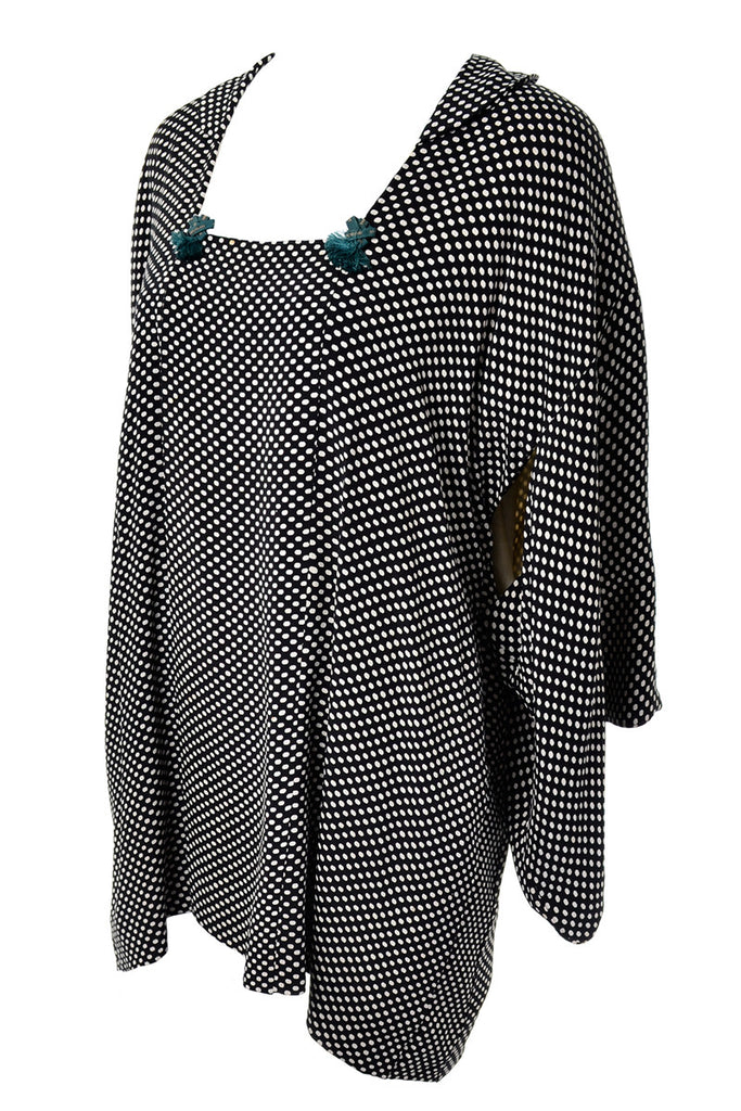 1960's Japanese Black and White Polka Dot Vintage Kimono Top With Teal Tassels
