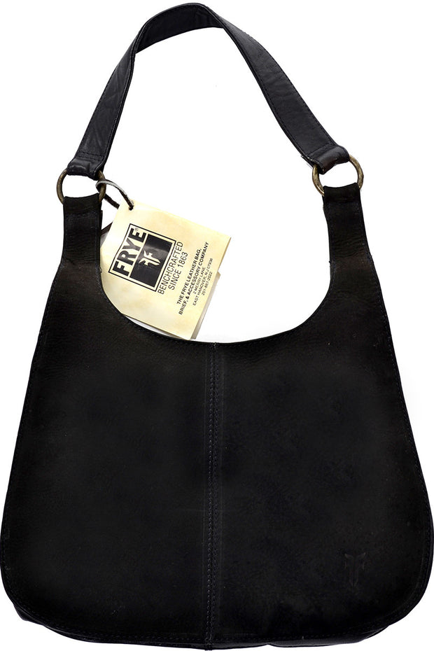 New Frye Made in Columbia Black Leather and Suede Bag Handbag Deadstock