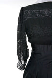 Mid Century Black Vintage Dress with Puffy Lace Sleeves - Dressing Vintage