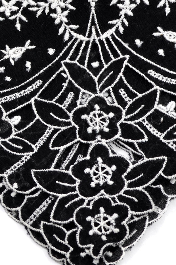 Embroidered rare vintage black mourning handkerchief hankie