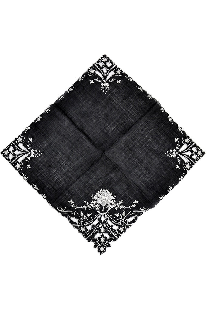 Embroidered vintage black mourning handkerchief hankie