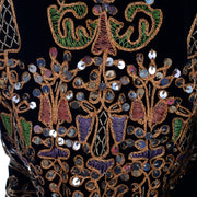 black velvet vintage jacket gold, pink, green embroidery and silver paillettes