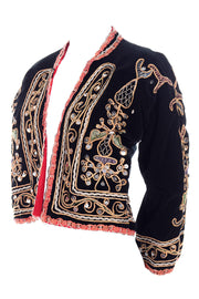 black velvet vintage jacket embroidery and silver paillettes
