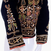 black velvet vintage jacket with ornate embroidery and silver paillettes