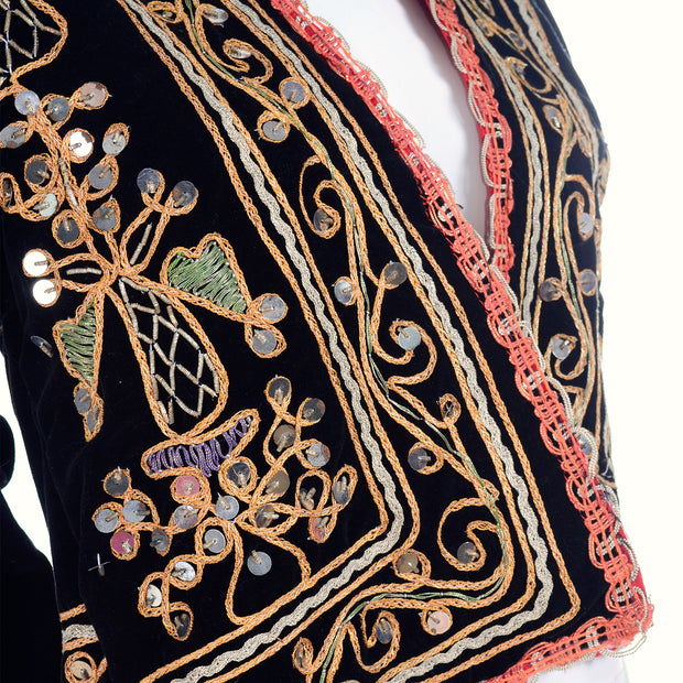 Embroidered black velvet jacket with paillettes