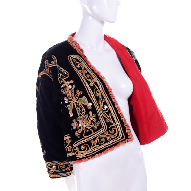Vintage Indian open front black velvet jacket